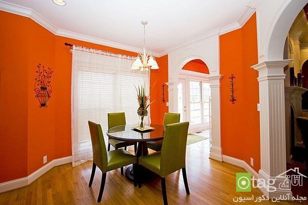 رنگ نارنجی در دکوراسیون اتاق غذاخوری با طراحی شیک و امروزی