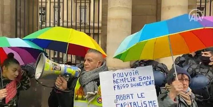 خیابان های پاریس در تصرف جلیقه زردهای معترض به ماکرون