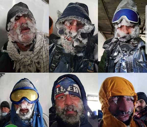 کوهنوردان یخ بسته در ارتفاعات تهران (تصاویر)