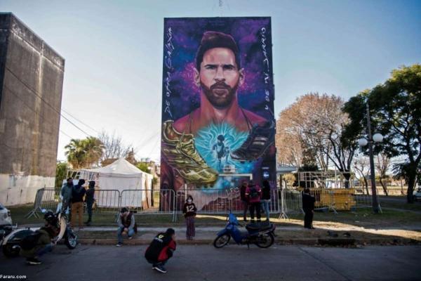 (ویدئو) دیوارنگاری از چهره لیونل مسی در زادگاهش